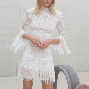 Alexis Sonia White Lace Fringe Dress M
